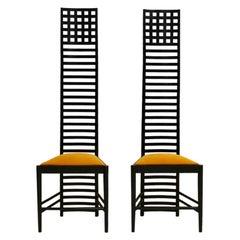 "Mid-Century Modern Mackintosh ""292 Hill House 1"" Italian Pair of Ashwood Chairs"