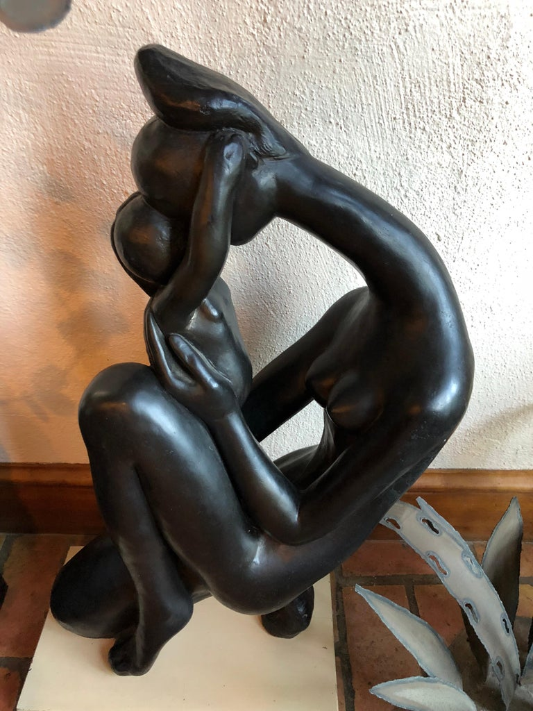 Mid-Century Modern Madonna and Child Sculpture In Good Condition For Sale In Redding, CT