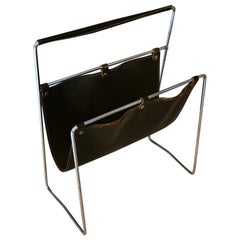 Mid-Century Modern Magazine Rack by J. Adnet in Brown Leather and Chromed Steel
