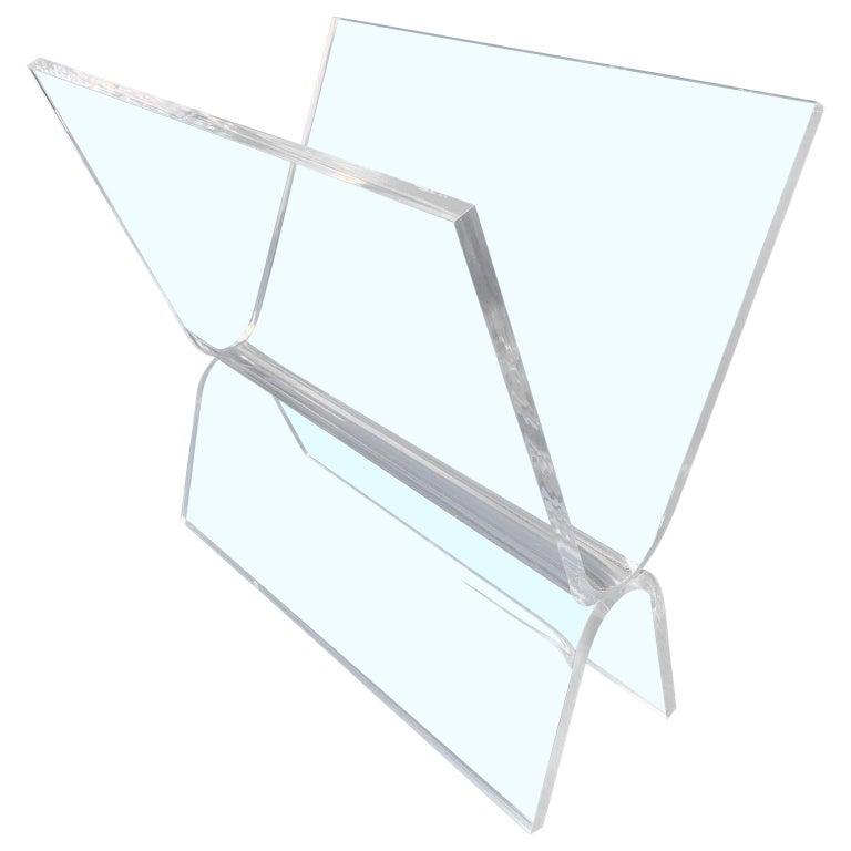 Mid-Century Modern Magazine Rack in Thick Lucite For Sale