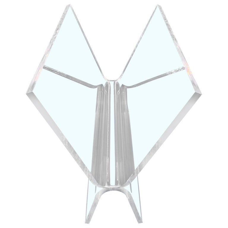 American Mid-Century Modern Magazine Rack in Thick Lucite For Sale