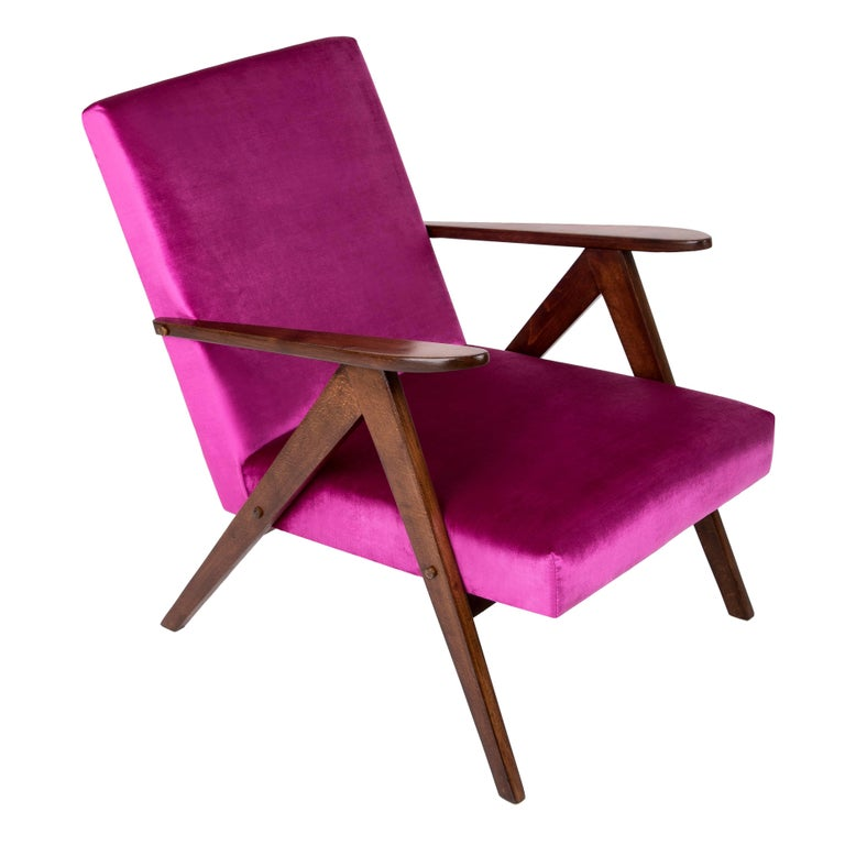 Mid-Century Modern Magenta Pink Armchair, B-310 VAR, 1960s, Poland