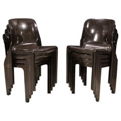 Mid-Century Modern Magistretti Artemide Set of 8 Stacking Chairs Selene, 1960s