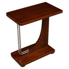 Mid-Century Modern Mahogany and Chrome Side Table