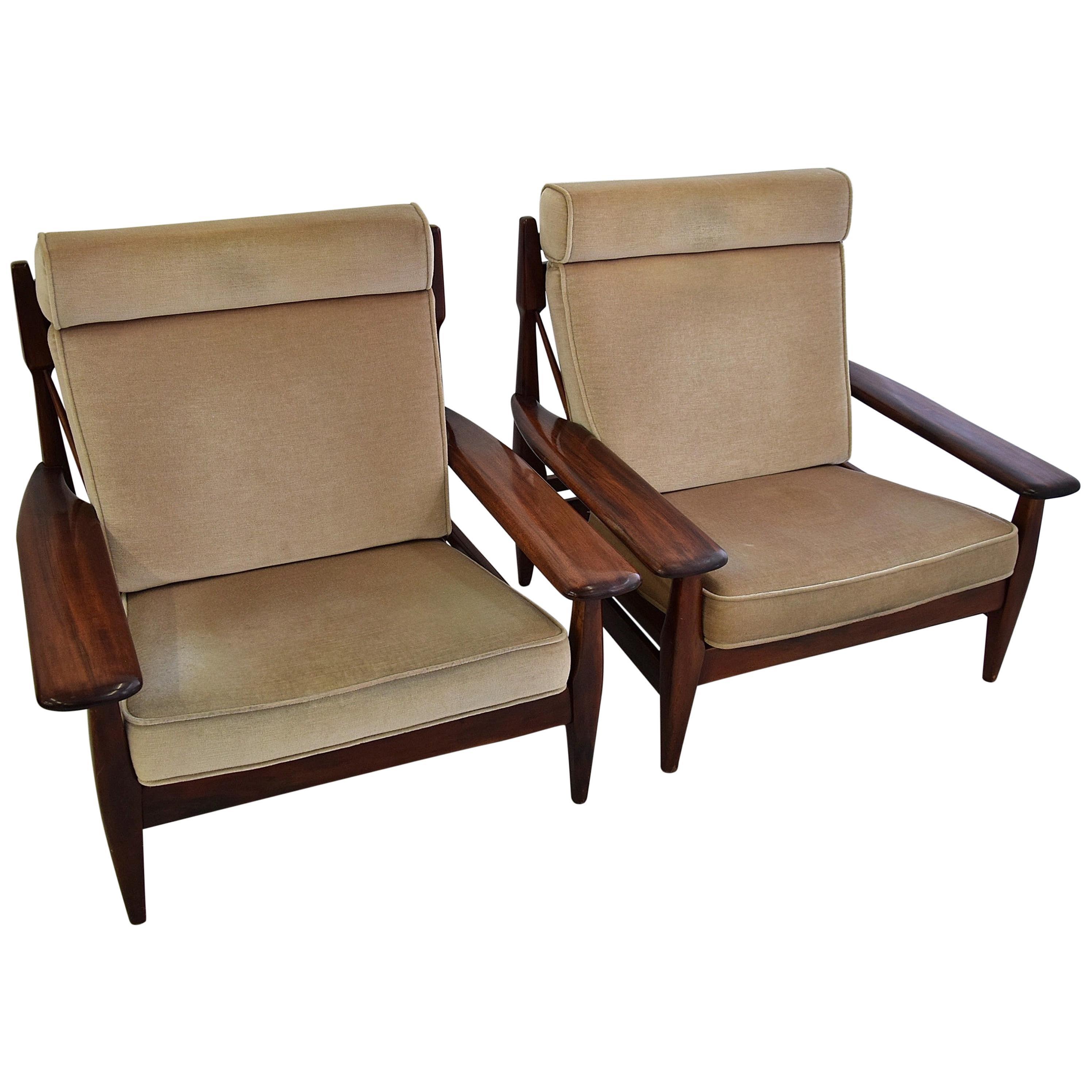 Brazilian Mid-Century Modern Wooden Armchairs in the Style of Jean Gillon