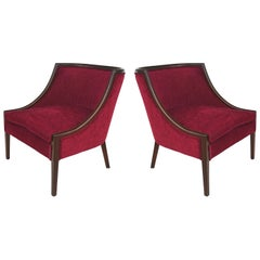 Mid-Century Modern Mahogany Club Chairs by The Furniture Shop, New Haven, CT