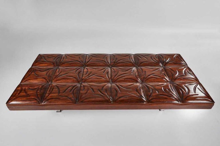 Mid-Century Modern Mahogany Gallery Bench In Good Condition For Sale In Pasadena, CA