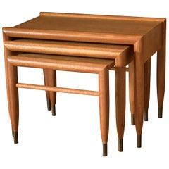 Mid-Century Modern Mahogany Nesting Tables by John Keal for Brown Saltman