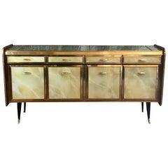 Mid-Century Modern Mahogany Wood, Brass & Green Artistic Murano Glass Credenza