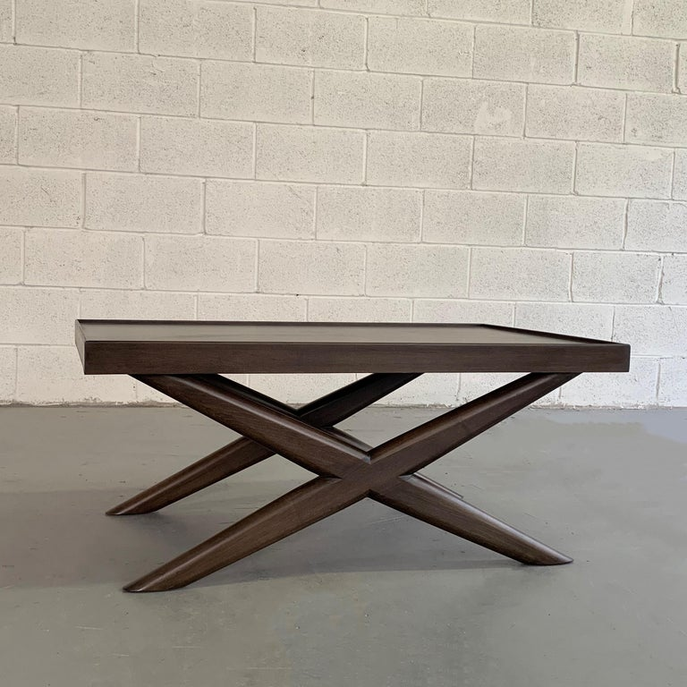American Mid-Century Modern Mahogany X-Base Coffee Table For Sale