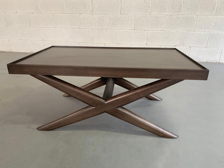 20th Century Mid-Century Modern Mahogany X-Base Coffee Table For Sale