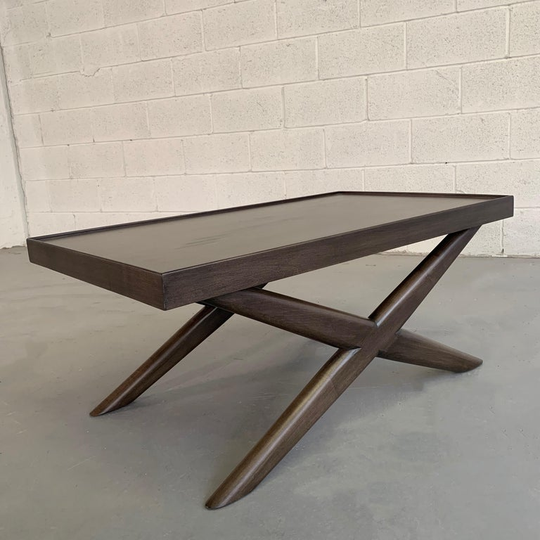 Mid-Century Modern Mahogany X-Base Coffee Table For Sale 1