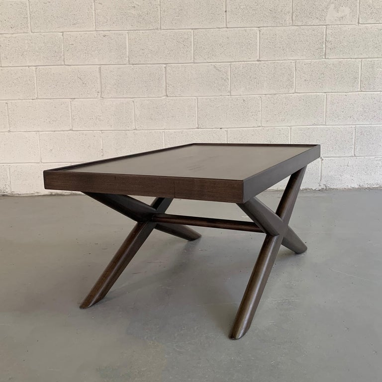 Mid-Century Modern Mahogany X-Base Coffee Table For Sale 2
