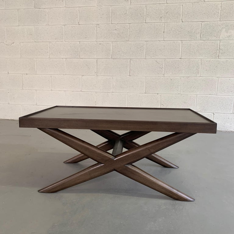 Mid-Century Modern Mahogany X-Base Coffee Table For Sale 3