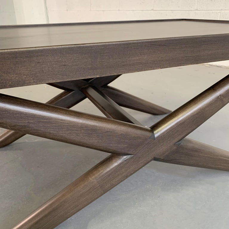 Mid-Century Modern Mahogany X-Base Coffee Table For Sale 4