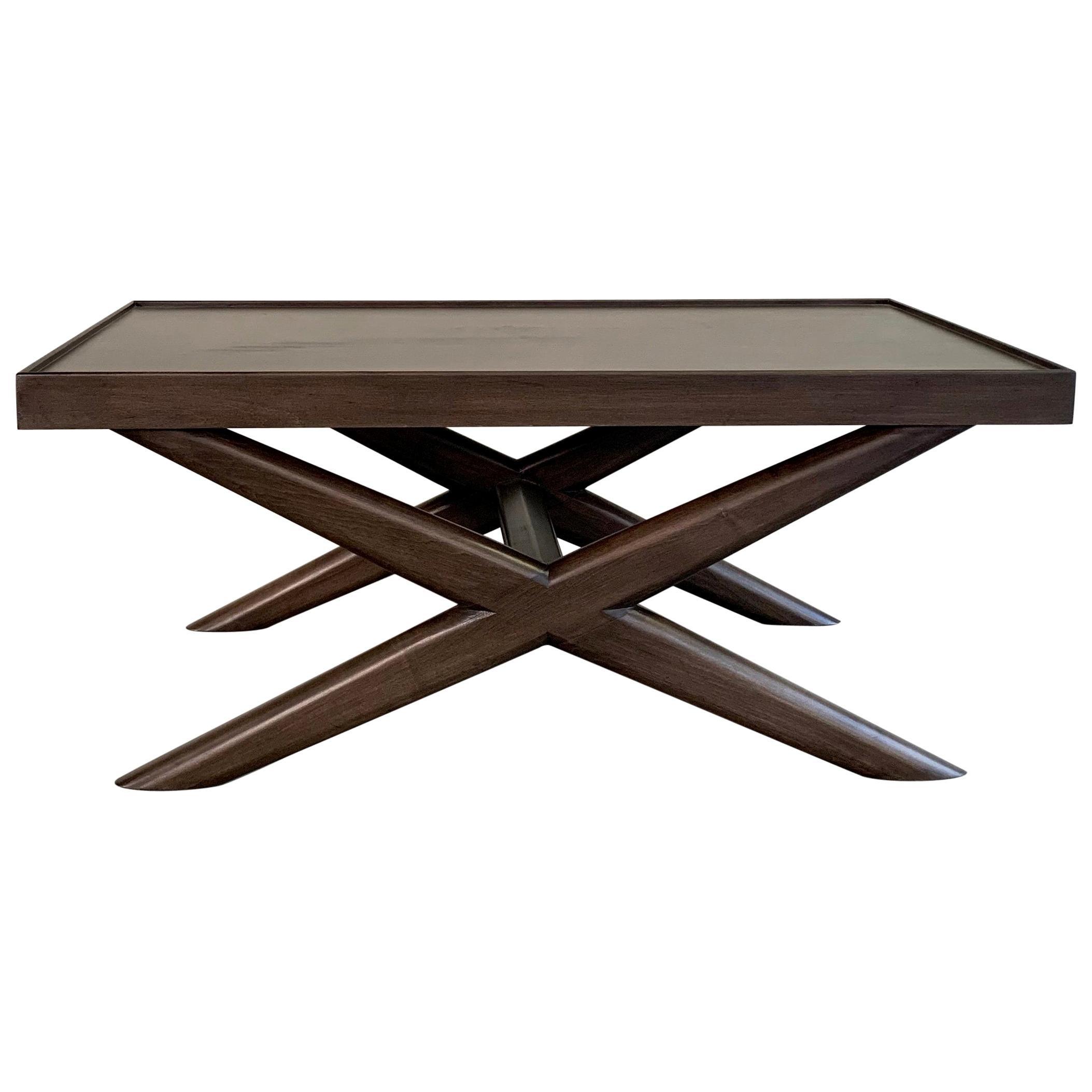 Mid-Century Modern Mahogany X-Base Coffee Table