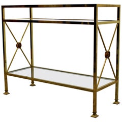 Mid-Century Modern Maison Jansen 3-Tier Console Table Brass and Glass, 1960s