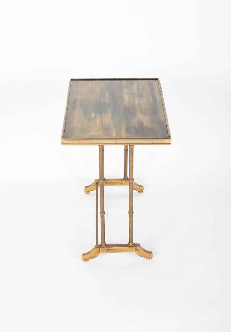 Mid-Century Modern Maison Jansen Brass Nesting Tables, Set of Three For Sale 4