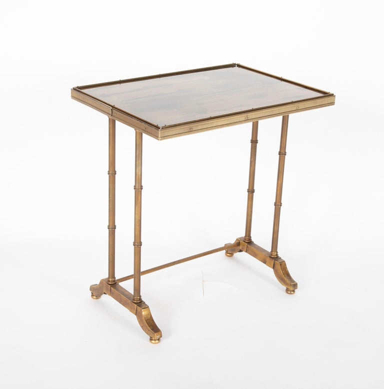 Mid-Century Modern Maison Jansen Brass Nesting Tables, Set of Three For Sale 5