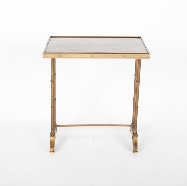 Mid-Century Modern Maison Jansen Brass Nesting Tables, Set of Three For Sale 6