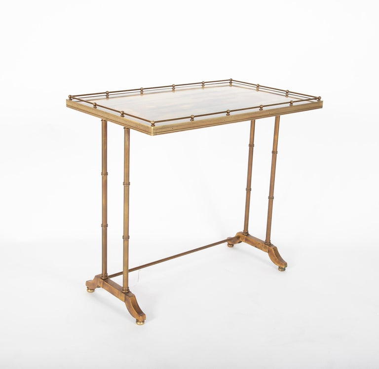 Mid-Century Modern Maison Jansen Brass Nesting Tables, Set of Three In Good Condition For Sale In Stamford, CT
