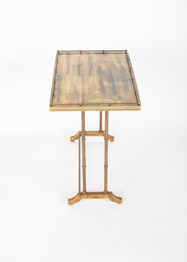 Mid-Century Modern Maison Jansen Brass Nesting Tables, Set of Three For Sale 1