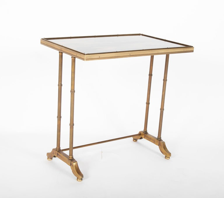 Mid-Century Modern Maison Jansen Brass Nesting Tables, Set of Three For Sale 2