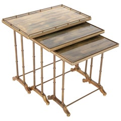Mid-Century Modern Maison Jansen Brass Nesting Tables, Set of Three