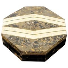 Mid-Century Modern Casa Bique Brass Tessellated Stone Lidded Box Marcius 1970s