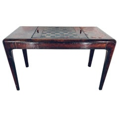 Mid-Century Modern Maitland Smith Distressed Leather Game Table