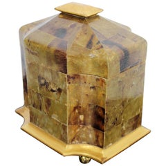 Mid-Century Modern Maitland Smith Tessellated Stone Gilt Lidded Box Vessel 1970s