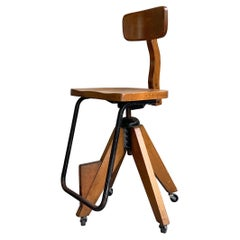 Mid-Century Modern Maple Adjustable Swivel Drafting Stool