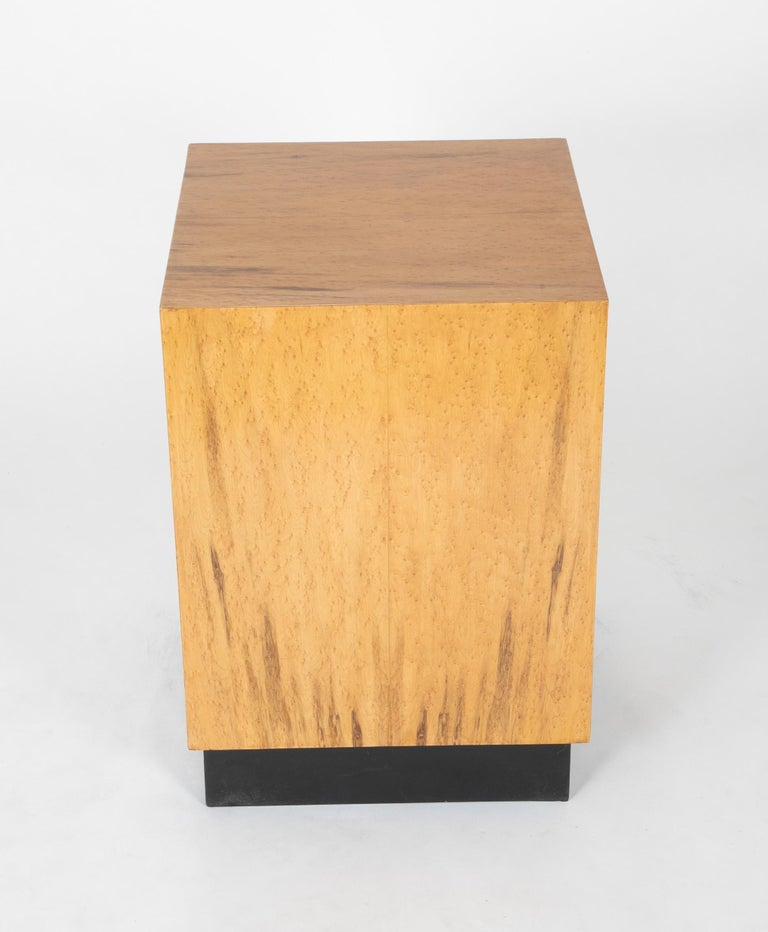 Mid Century Modern Maple Veneered Cube Form End Tables For Sale 6