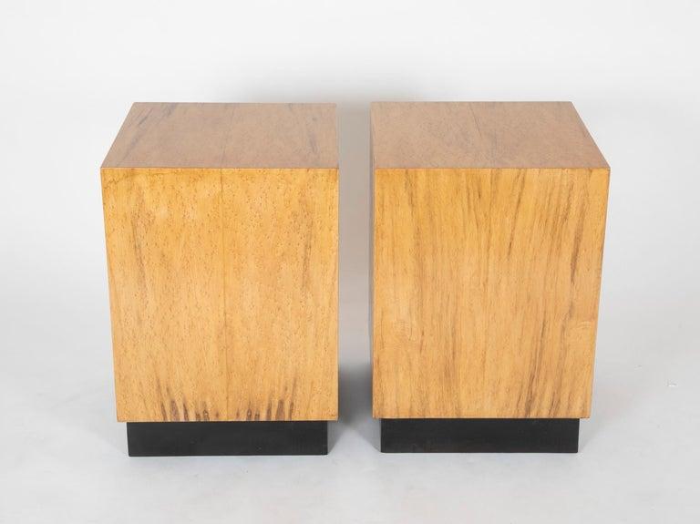 Mid-Century Modern Mid Century Modern Maple Veneered Cube Form End Tables For Sale