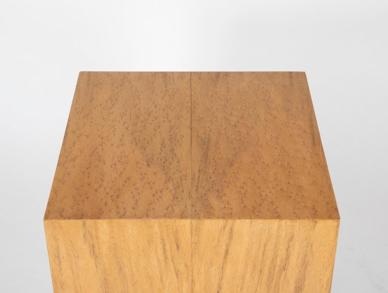 20th Century Mid Century Modern Maple Veneered Cube Form End Tables For Sale