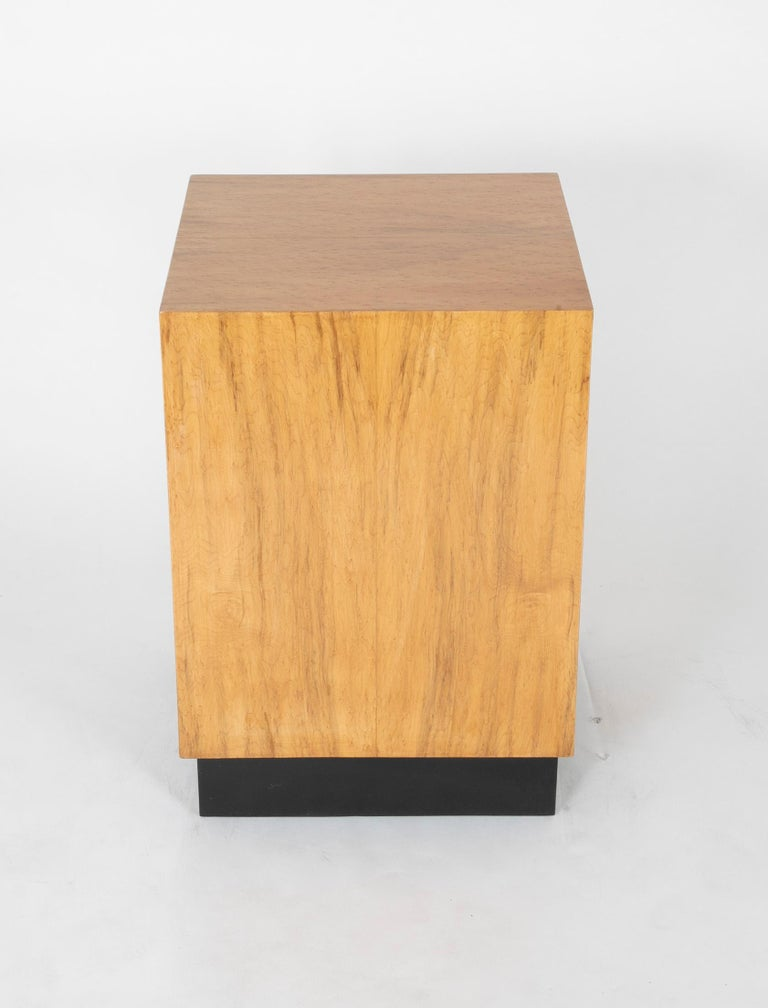 Mid Century Modern Maple Veneered Cube Form End Tables For Sale 2