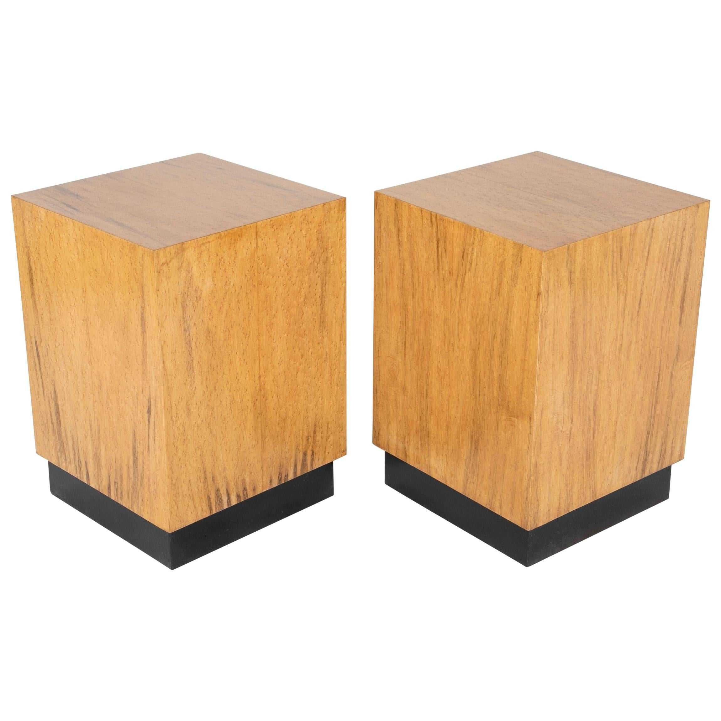 Mid Century Modern Maple Veneered Cube Form End Tables