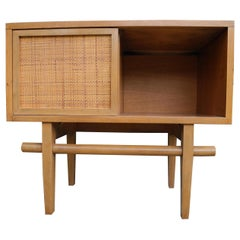 Mid-Century Modern Maple Vintage Single Nightstand with Rattan Sliding Door