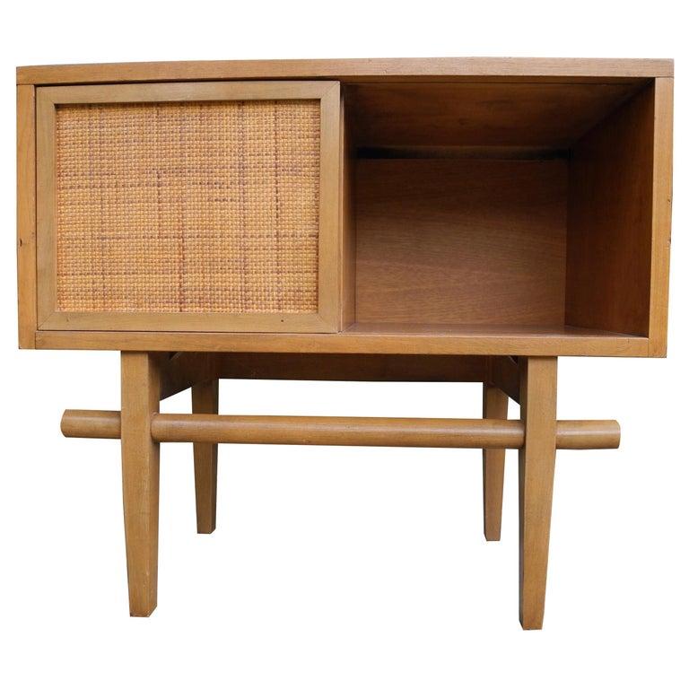 Mid-Century Modern Maple Vintage Single Nightstand with Rattan Sliding Door For Sale
