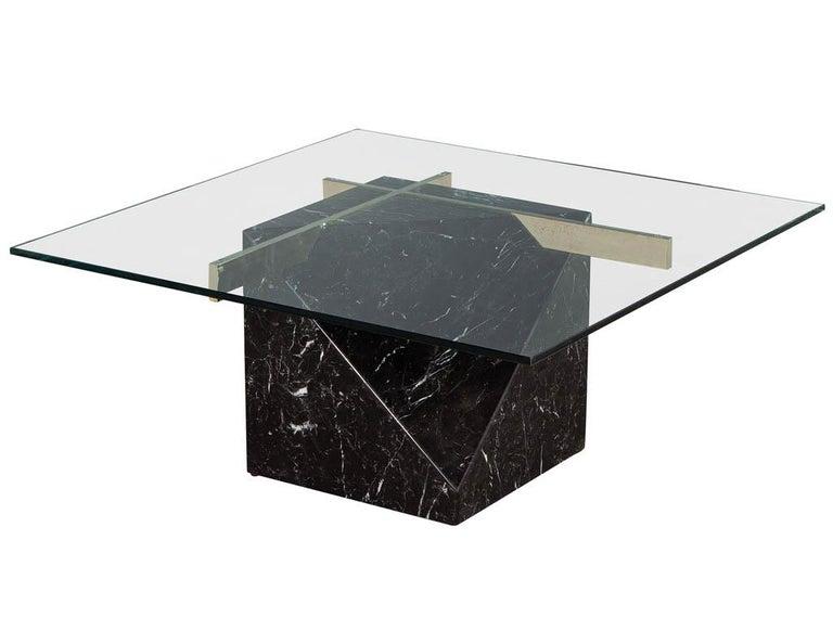 Italian Mid-Century Modern Marble Brass & Glass Coffee Table by Artedi For Sale