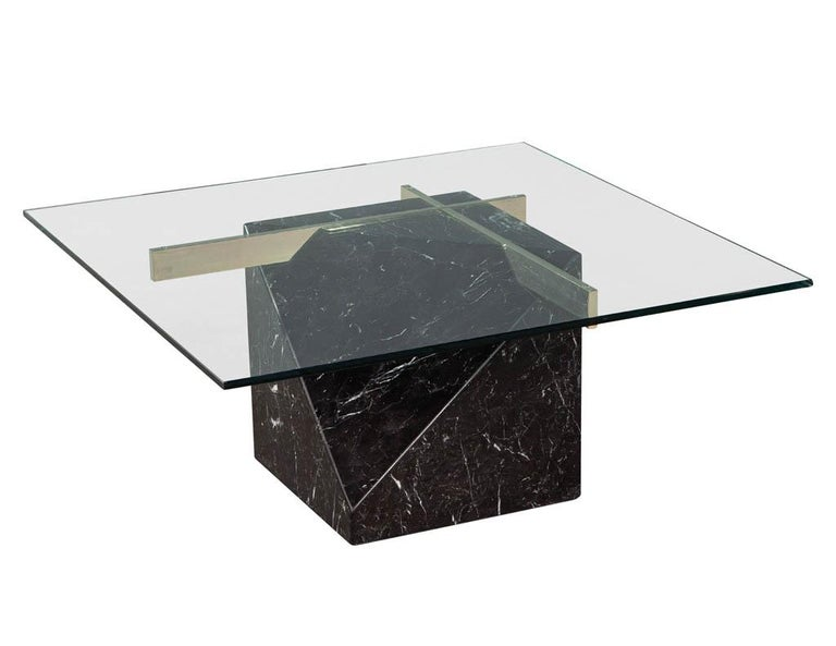 Mid-Century Modern Marble Brass & Glass Coffee Table by Artedi In Good Condition For Sale In North York, ON