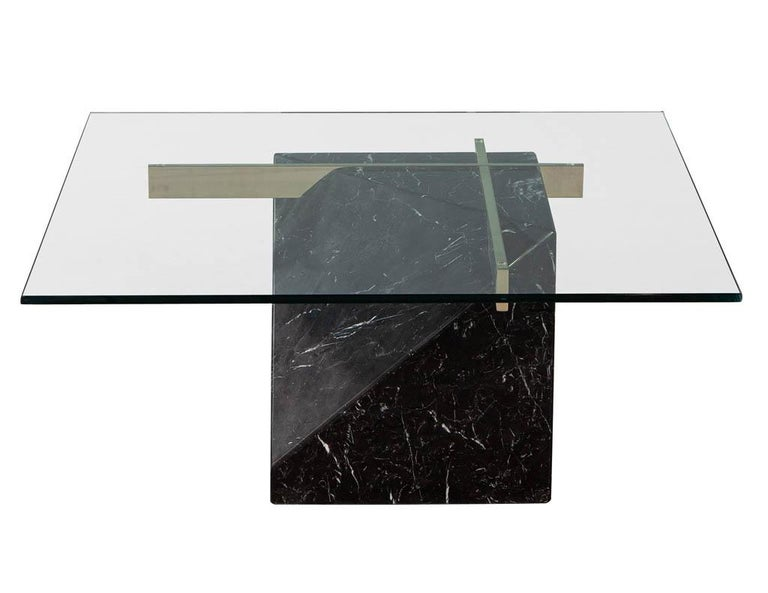 Late 20th Century Mid-Century Modern Marble Brass & Glass Coffee Table by Artedi For Sale