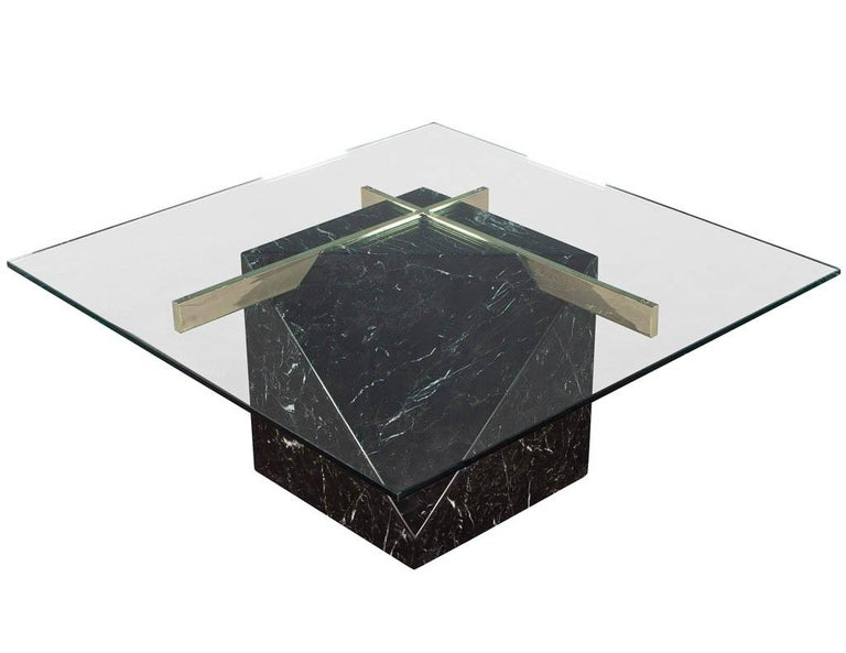 Mid-Century Modern Marble Brass & Glass Coffee Table by Artedi For Sale 1