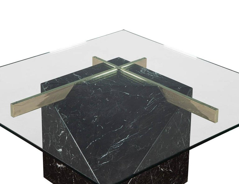Mid-Century Modern Marble Brass & Glass Coffee Table by Artedi For Sale 2