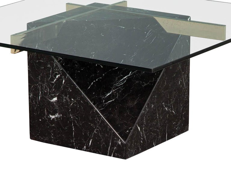 Mid-Century Modern Marble Brass & Glass Coffee Table by Artedi For Sale 3