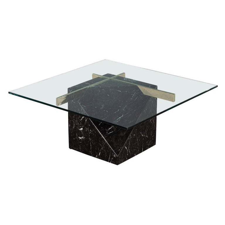 Mid-Century Modern Marble Brass & Glass Coffee Table by Artedi For Sale