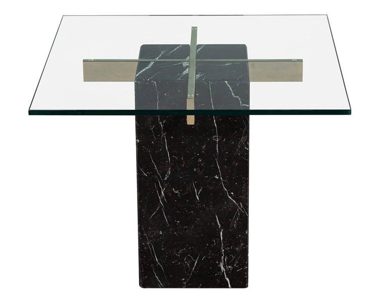 Mid-Century Modern marble brass & glass side table by Artedi. Black marble with white veining, glass and brass end table in original condition. Featuring new glass top.  Price includes complimentary curb side delivery to the continental USA.