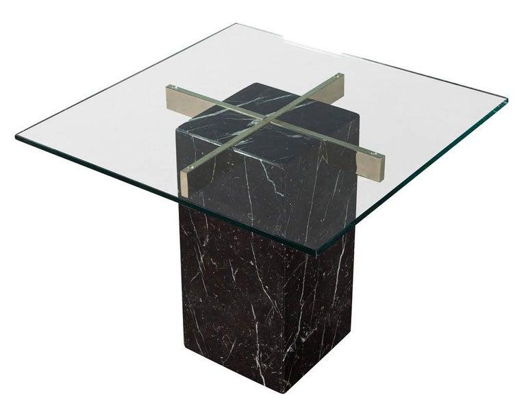 Italian Mid-Century Modern Marble Brass & Glass Side Table by Artedi For Sale