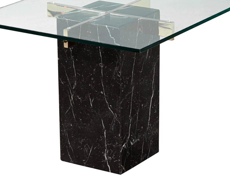 Mid-Century Modern Marble Brass & Glass Side Table by Artedi In Good Condition For Sale In North York, ON