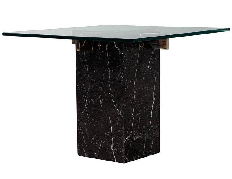 Late 20th Century Mid-Century Modern Marble Brass & Glass Side Table by Artedi For Sale